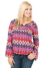 Ariat Women's Navy & Rust Multicolor Print Long Sleeve Blouse Fashion Top