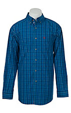 Ariat Mens Blue, White and Black Plaid Western Shirt