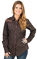 Ariat Women's Claire Ganache Brown with Multi Aztec Embroidery Long Sleeve Western Shirt