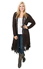 Ariat Women's Chocolate with Fringe Trim Long Body Cardigan