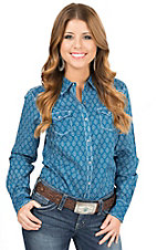 Ariat Women's Lina Blue with Aztec Print Long Sleeve Western Shirt