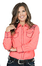 Ariat Women's Mirada Neon Pink Long Sleeve Western Shirt