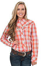 Ariat Women's Roadtrip Orange Plaid Long Sleeve Western Shirt