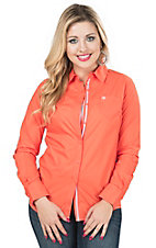 Ariat Women's Kirby Orange Long Sleeve Western Shirt