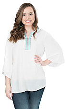 Ariat Women's White with Teal and Navy Embroidery 3/4 Length Sleeve Fashion Top