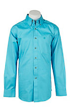 Ariat Men's Solid Blue Atoll Western Shirt- Big & Talls