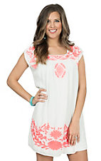 Ariat Women's Marquette White with Neon Pink Embroidery Cap Sleeve Dress