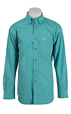 Ariat Men's Turquoise and White Mini Check L/S Western Shirt