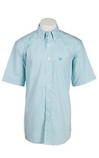 Ariat Men's White and Turquoise Dixon Print S/S Shirt