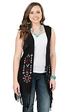 Ariat Women's Bacall Black with Embroidered Front & Fringe Vest