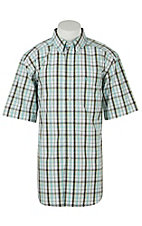 Ariat Mens Fabio Aqua Plaid Western Shirt - Big & Tall