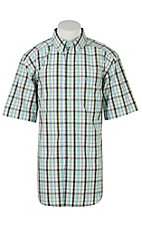 Ariat Mens Fabio Aqua Plaid Western Shirt