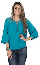 Ariat Women's Garland Turquoise with Lace Yoke 3/4 Sleeve Tunic Fashion Top