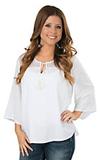 Ariat Women's Garland White with Lace Yoke 3/4 Sleeve Tunic Fashion Top