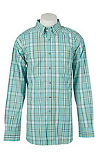 Ariat Mens Falkirk Turquoise Plaid Western Shirt