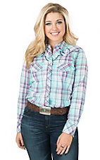 Ariat Women's Loren Light Blue Plaid Long Sleeve Western Shirt