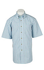 Ariat Mens Hagan Light Blue Plaid Western Shirt - Big & Tall