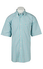 Ariat Mens Jaxson Aqua Plaid Western Shirt - Big & Tall