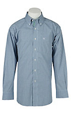 Ariat Mens Hadley Blue Plaid Western Shirt