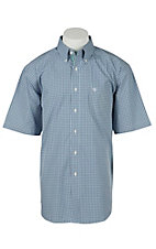 Ariat Mens Hadley Light Blue Plaid Western Shirt