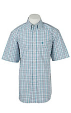 Ariat Mens Jacinto Turquoise Plaid Western Shirt