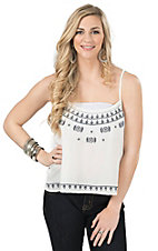 Ariat Women's White Chiffon with Navy Paisley Embroidery Tank