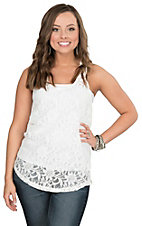 Ariat Women's White Lace with Twisted Back Casual Knit Tank