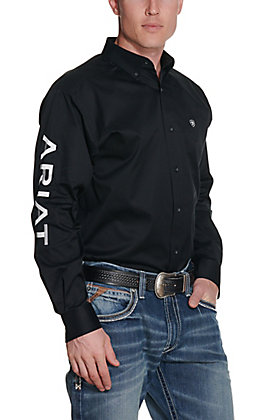 Ariat Men's Black Team Logo Twill Long Sleeve Western Shirt