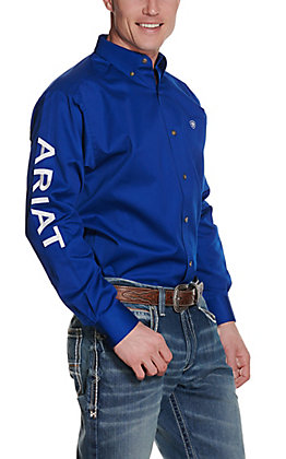 Ariat Men's Ultramarine Blue Twill Team Logo Long Sleeve Western Shirt