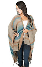 Ariat Women' Beige and Blue with Fringe Poncho