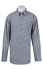 Ariat Mens Jacobson Navy Plaid Western Shirt