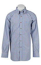 Ariat Mens Jimmy Light Blue Plaid Western Shirt