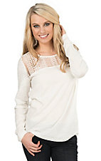Ariat Women's Whisper White with Crochet Detailing on Yokes Long Sleeve Casual Knit Top