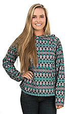 AriatTEK Women's Turquoise, Grey, and Black Ikat Print Conquest Long Sleeve Hoodie Pullover
