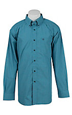Ariat Mens Leland Turquoise Plaid Western Shirt