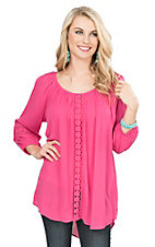 Ariat Women's Rose Pink with Crochet Details and Long Cinched Sleeves Tunic Fashion Top