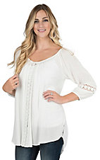 Ariat Women's White with Crochet Details Long Sleeve Tunic Fashion Top