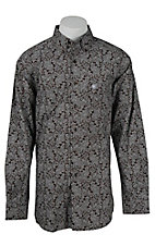 Ariat Men's Livingston Coffee Bean Print Western Shirt