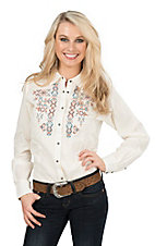 Ariat Women's Cream with Blue, Orange, and Cream Cross Stitch Embroidery Long Sleeves Western Snap Shirt