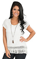 Ariat Women's Ivory with Fringe Bottom Hem Caqp Sleeve Casual Knit Top