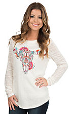 Ariat Women's White with Multi Colored Steer Head Screen Print with Rhinestone Studs with Sheer Long Sleeve Casual Knit Top