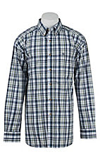 Ariat Mens Liam Teal Plaid Western Shirt