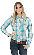 Ariat Women's Turquoise and Cream Plaid with Floral Embroidery and Beading Long Sleeve Western Snap Shirt