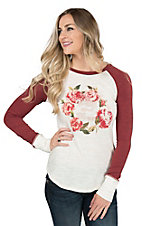 Ariat Women's Blaire Cream Wild and Free Screen Print Design Rose Long Sleeve Casual Knit Top