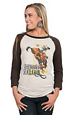 Ariat Women's Sally Cream with Strawberry Roan Rodeo State Fair Screen Print and Dark Chocolate 3/4 Sleeves Casual Knit Top