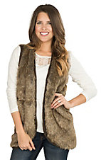 Ariat Women's Aileen Brown Faux Fur with Chunky Rib Knit Back Vest