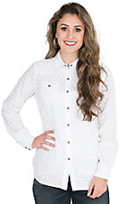 Ariat Women's White with Polka Dot Jacquard Long Sleeve Western Snap Shirt