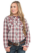 Ariat Women's Red, White, and Black Woven Plaid with Black Studs Western Snap Shirt