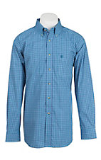 Ariat Pro Series Waterfall Blue and Teal Plaid Western Shirt