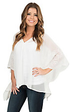 Ariat Women's Clara White with Floral Embroidery on Wings Chiffon 1/2 Sleeve Poncho Fashion Top